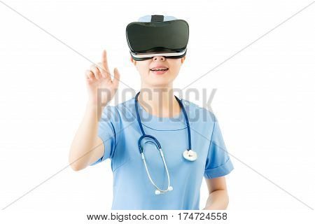 Asian Female Surgeon Touch Screen By Vr Headset