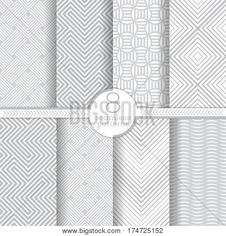 Set of vector seamless patterns. Modern stylish geometric textures. Infinitely repeating geometrical ornaments with different geometric shapes: rhombuses diamonds zigzags waves maze.
