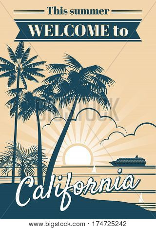 California republic vector poster with palm trees, sport t shirt surfing graphics. California summer beach with tropical palm, illustration of banner paradise coast california