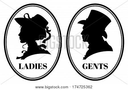 Vintage toilet wc vector sign with lady and gentleman head in victorian hats and clothes. Signs for toilet, illustration of silhouette gentleman and lady head for emblem toilet