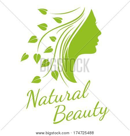 Fashion, spa, cosmetic vector concept background with beautiful woman head. Silhouette of glamour fashion woman head, illustration of green silhouette head with hair
