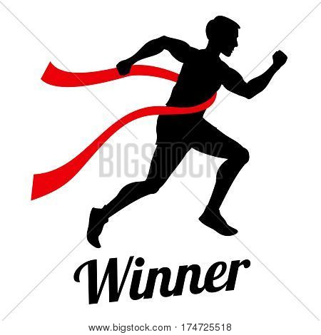 Winner runner crossing finish line, sports champion vector concept. Man runner on finnish, illustration of victory and achievement man in competition