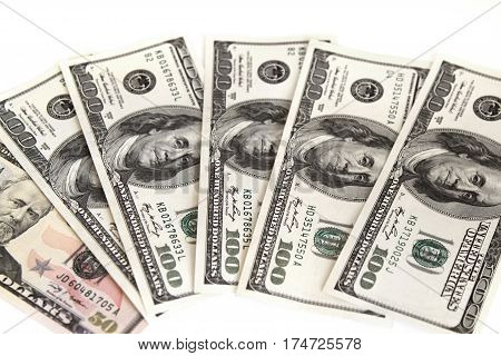 Heap of american dollars on the white background
