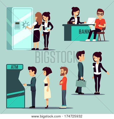 People in the bank, vector banking service, business concept. Worker bank on reception, queue waiting to bank atm illustration