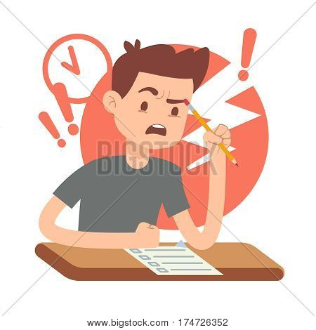 Worried, upset teen student on exam. Education and study vector concept. Alarmed by student answers questions in exam illustration