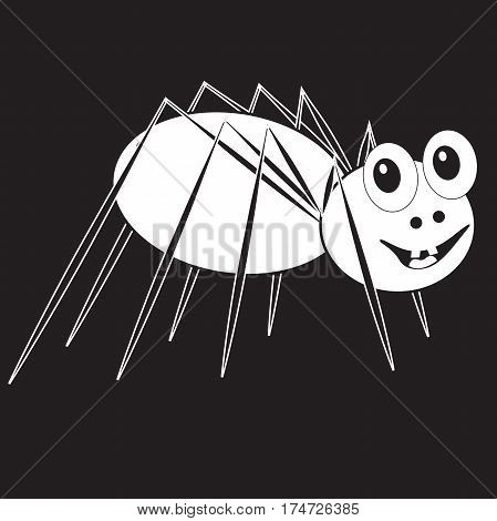 funny smiling spider transparent on a black background