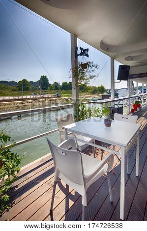 Summer Outdor Restaurant On The River Bank
