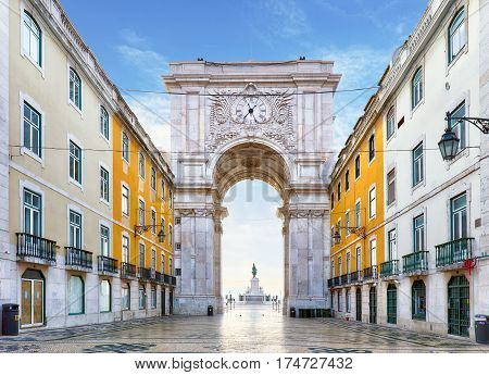 Famous arch at the Praca do Comercio Lisbon Portugal