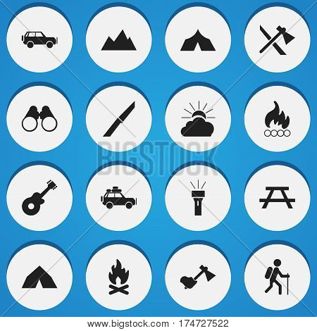 Set Of 16 Editable Trip Icons. Includes Symbols Such As Refuge, Blaze, Desk And More. Can Be Used For Web, Mobile, UI And Infographic Design.