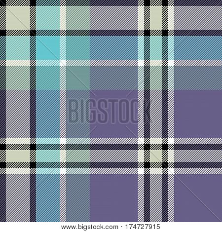 Gray blue check fabric texture seamless pattern. Vector illustration.