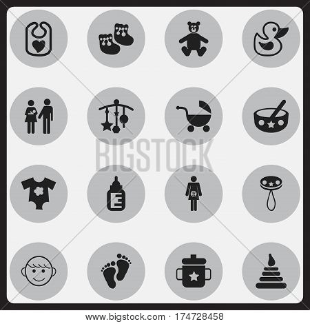 Set Of 16 Editable  Icons. Includes Symbols Such As Shoes For Babies, Goplet, Lineage And More. Can Be Used For Web, Mobile, UI And Infographic Design.