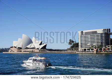 landscape of Opera House with deep blue sea taken in Sydney Australia on 4 July 2016
