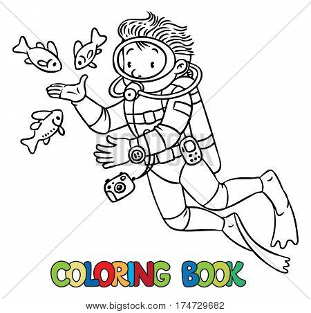 Coloring picture or coloring book of funny oceanologist or oceanographer, or diver in scuba gear near the fishes. Profession series. Children vector illustration.