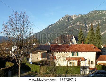The Bavarian Alps Mountain as seen from the Town of Garmisch-Partenkirchen, Bavaria, Germany
