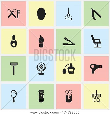 Set Of 16 Editable Hairstylist Icons. Includes Symbols Such As Cutter Apparatus, Scrub, Cut Tool And More. Can Be Used For Web, Mobile, UI And Infographic Design.