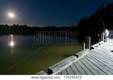 Couple blurred in motion of long exposure fishing from Kerikeri wharf at night.