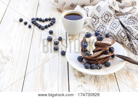 Hot Coffee And Buckwheat Chocolate Pancakes With Blueberries