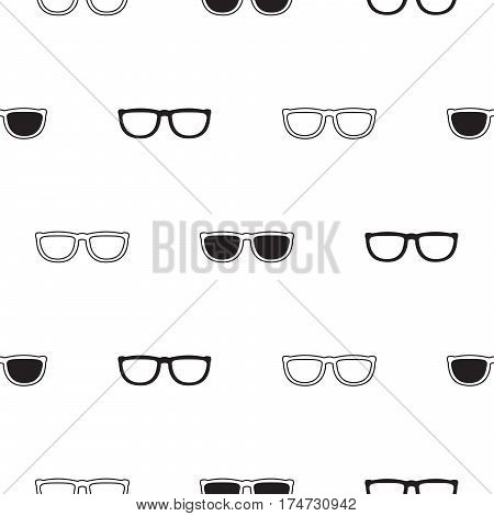 Sunglasses retro seamless vector pattern in black and white colors. Hipster eyewear background.