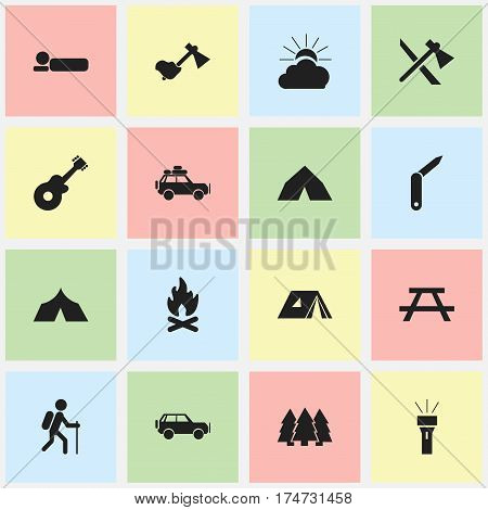 Set Of 16 Editable Travel Icons. Includes Symbols Such As Sport Vehicle, Desk, Voyage Car And More. Can Be Used For Web, Mobile, UI And Infographic Design.