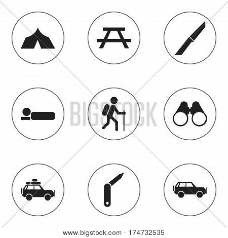 Set Of 9 Editable Trip Icons. Includes Symbols Such As Voyage Car, Clasp-Knife, Desk And More. Can Be Used For Web, Mobile, UI And Infographic Design.