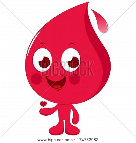 Vector illustration of a cute cartoon representing a blood drop holding a heart. Blood donation concept character.