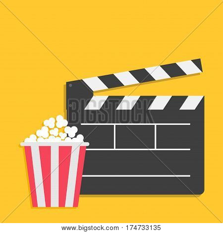 Big open clapper board Popcorn Cinema Movie icon sign symbol set. Red white lined box. Flat design style. Yellow background. Vector illustration