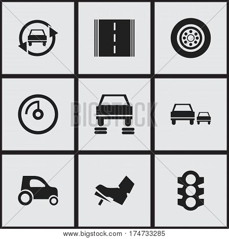 Set Of 9 Editable Vehicle Icons. Includes Symbols Such As Speed Display, Treadle, Race And More. Can Be Used For Web, Mobile, UI And Infographic Design.
