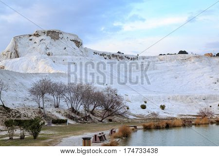 Pamukkale view from park wiht turquiose water