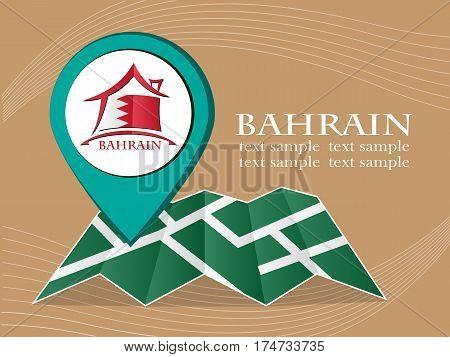 map with pointer flag Bahrain vector illustration eps 10