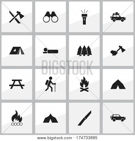 Set Of 16 Editable Travel Icons. Includes Symbols Such As Lantern, Blaze, Shelter And More. Can Be Used For Web, Mobile, UI And Infographic Design.