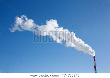 Pipe with smoke. Heat energy network. CHP.