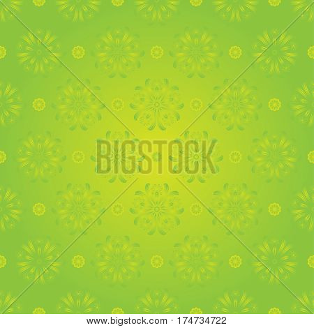 Seamless Spring Floral Pattern On Green Background