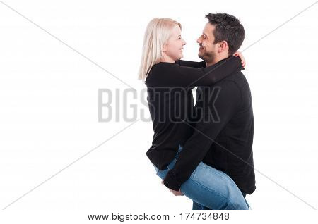 Funny Young Male Holding His Girlfriend