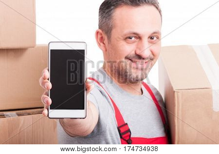 Selective Focus Of Mover Guy Showing Blank Phone Screen
