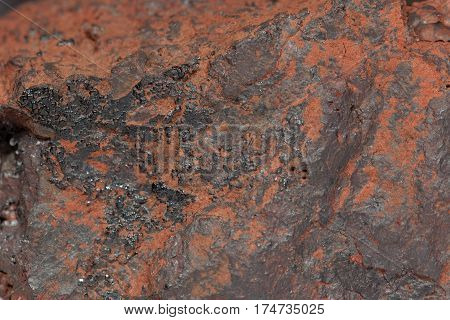 Macro photo of the iron ore Hematite.