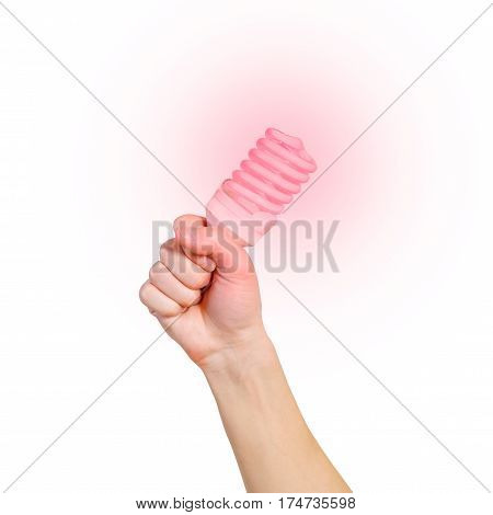 Closeup Of Man's Hand Holding Energy Saving Lamp. Glows Brightly With Red Light. Recycling, Electric