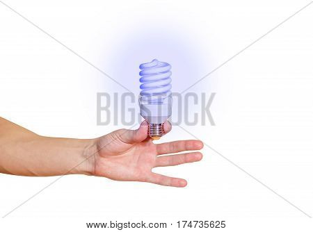 Closeup Of Man's Hand Holding Energy Saving Lamp. Glows Brightly With Blue Light. Recycling, Electri