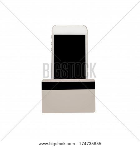 Closeup Of White Smartphone With Blank Black Screen And A Credit Card. The Concept Of Contactless Pa
