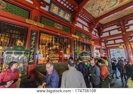 Tokyo Japan - November 19 2016 : Inside the main hall of Senso-ji Temple in Asakusa Tokyo Japan . The Senso-ji Temple in Asakusa is the most famous temple in Tokyo .