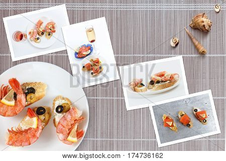 Beautiful snapshots of various italian sandwiches with seafood arranged on bamboo mat background with plates with food and seashells with copy space horizontal top view.