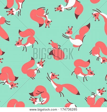 Little cute squirrels. Seamless pattern for gift wrapping, wallpaper, childrens room or clothing. Green background. Vector illustration
