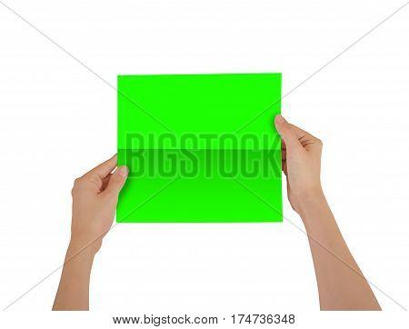 Hands Holding Blank Green Brochure Booklet In The Hand. Leaflet Presentation. Pamphlet Hand Man. Sho