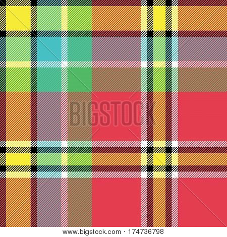 Yellow red green blue check fabric texture seamless pattern. Vector illustration.