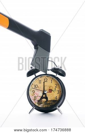 Ax breaking black alarm clock isolated on white background