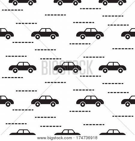 Car cute baby vector scandinavian seamless pattern. Kid fabric and apparel design. Light blue van vehicles on white. Simple kid pattern.