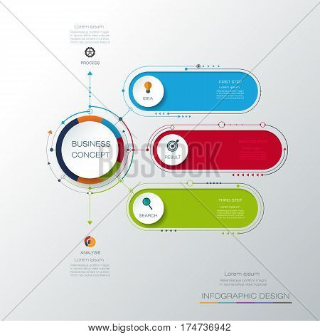 Vector infographic template with 3D paper label, integrated circles. Business concept with options. For content diagram, flow chart, steps, parts, timeline, infographics, work flow, process