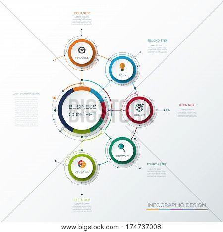 Vector infographic template with 3D paper label, integrated circles. Business concept with options. For content, diagram, flow chart, steps, parts, timeline, infographics, work flow, process