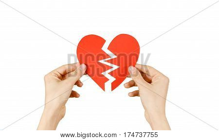 Female Hands Holding Broken Blank Empty Red Valentines Card With Heart Isolated On A White Backgroun