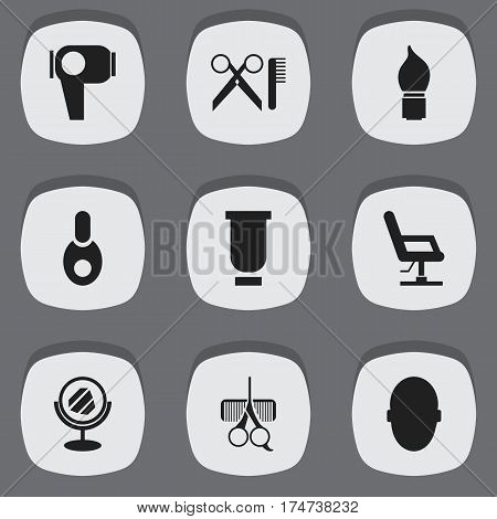Set Of 9 Editable Barber Icons. Includes Symbols Such As Brains, Elbow Chair, Scrub And More. Can Be Used For Web, Mobile, UI And Infographic Design.