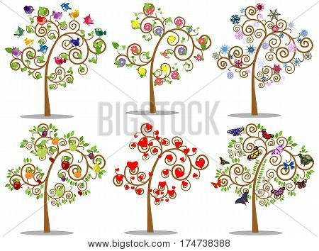 Vector collection of trees with decorative elements in color.